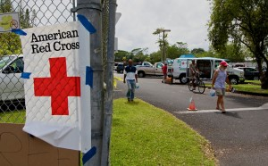 The Red Cross handing out supplies at the Pahoa Community Center Parking Lot. Hawaii 24/7 File Photo
