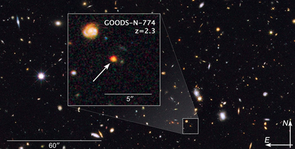 This image shows observations of a newly discovered galaxy core dubbed GOODS-N-774, taken by the NASA/ESA Hubble Space Telescope's Wide Field Camera 3 and Advanced Camera for Surveys. The core is marked by the box inset, overlaid on a section of the Hubble GOODS-N, or GOODS North, field (Great Observatories Origins Deep Survey). (Image courtesy of NASA/ESA)