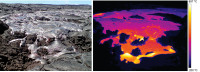This comparison of a photograph with a corresponding thermal image shows a typical lobe of pāhoehoe on the June 27th lava flow. The highest surface temperatures in this image are just under 900 Celsius (1650 F), but if one measured the temperature of the lava beneath the thin crust it would be close to 1140 Celsius (2080 F). Photo courtesy of USGS/HVO