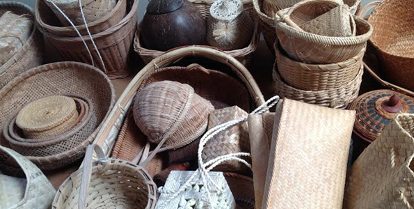 Baskets of every shape and size from around the Pacific. (Photo courtesy of Marilyn Nicholson)