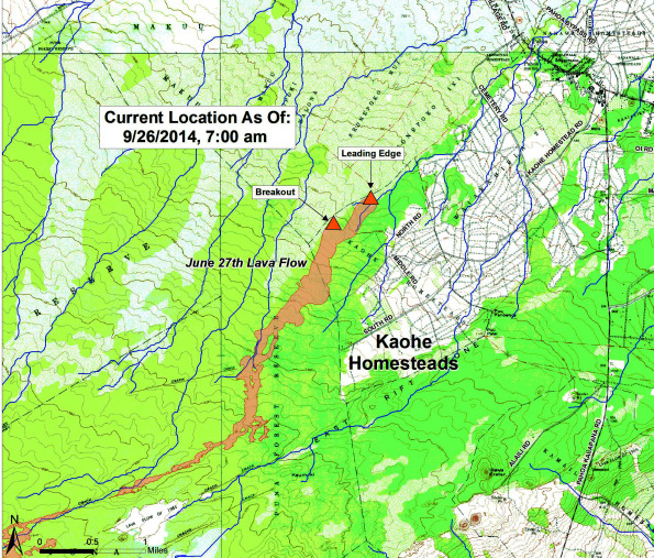 Position of the Kilauea June 27th Lava Flow as of 7 a.m. Friday, September 26, 2014. Map courtesy of Hawaii County Civil Defense.