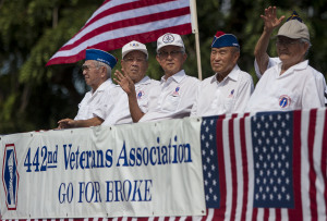 Veterans of the 442nd Regimental Combat Team in the Hilo Veterans Day Parade. November 7, 2009. Hawaii 24/7 File Photo