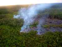 The front of the Kilauea June 27th Lava Flow on the morning of Friday, October 10, 2014. Photo courtesy of Hawaii County Civil Defense