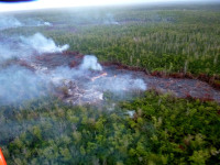 The Kilauea June 27th Lava Flow on the morning of Friday, October 10, 2014. Photo courtesy of Hawaii County Civil Defense