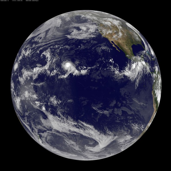 Full disk image taken of Earth at 5 p.m. HST, October 15, 2014. Click on image for larger view. Image courtesy of NOAA-NASA GOES Project