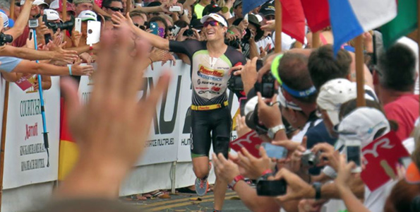 Sebastian Kienle celebrates his first world championship. (Photo special to Hawaii 24/7 by Chris Stewart)