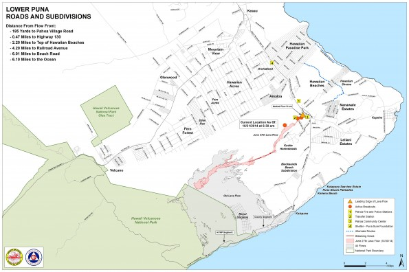 Kilauea June 27 Lava Flow map updated 6:30 a.m., October 31, 2014. Courtesy of Hawaii County Civil Defense