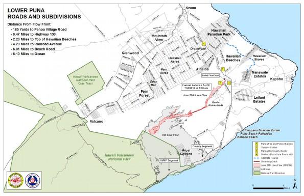Kilauea June 27 Lava Flow map updated 7 a.m., November 4, 2014. Courtesy of Hawaii County Civil Defense