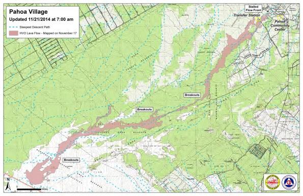 Kilauea June 27 Lava Flow map updated 7 a.m., November 21, 2014. Courtesy of Hawaii County Civil Defense