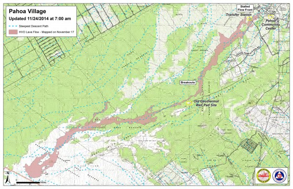 Kilauea June 27 Lava Flow map updated 7 a.m., November 24, 2014. Courtesy of Hawaii County Civil Defense