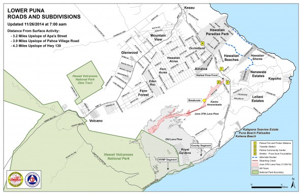 Kilauea June 27 Lava Flow map updated 7 a.m., November 26, 2014. Courtesy of Hawaii County Civil Defense