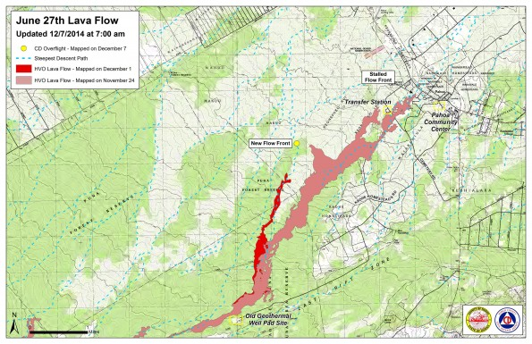 Kilauea June 27 Lava Flow map updated 7 a.m., December 7, 2014. Courtesy of Hawaii County Civil Defense