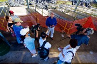 Chad Farias, incoming complex area superintendent for Ka'u-Keaau-Pahoa, talks to reporters about students visiting the lava flow site Monday morning (Dec 8). Photography by Baron Sekiya | Hawaii 24/7