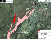 This map uses a satellite image acquired in March 2014 (provided by Digital Globe) as a base to show the area around the front of Kīlauea's active East Rift Zone lava flow. The area of the flow on December 1, 2014, at 11:30 AM is shown in pink, while widening and advancement of the flow as mapped on December 9 at 2:30 PM is shown in red. Most surface flow activity is focused into a narrow lobe that branches off the west edge of the flow field north of the East Rift Zone crack system. The front of this finger (19.487854, -154.983492 Decimal Degrees) was 3.4 km (2.1 mi) upslope from the intersection of Highway 130 and Pahoa Village Road at the Pahoa Marketplace, at an elevation of 275 meters (900 ft). The blue lines show steepest-descent paths calculated from a 1983 digital elevation model (DEM; for calculation details, see http://pubs.usgs.gov/of/2007/1264/). Steepest-descent path analysis is based on the assumption that the DEM perfectly represents the earth's surface. DEMs, however, are not perfect, so the blue lines on this map can be used to infer only approximate flow paths. All older Puʻu ʻŌʻō lava flows (1983–2014) are shown in gray; the yellow line marks the active lava tube.