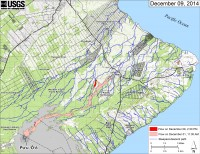 This small-scale map shows Kīlauea's active East Rift Zone lava flow in relation to lower Puna. The area of the flow on December 1, 2014, at 11:30 AM is shown in pink, while widening and advancement of the flow as mapped on December 9 at 2:30 PM is shown in red. Most surface flow activity is focused into a narrow lobe that branches off the west edge of the flow field north of the East Rift Zone crack system, upslope from the intersection of Highway 130 and Pahoa Village Road at the Pahoa Marketplace. A breakout was also active on the upper part of the flow field, about 3.3 km (2.0 mi) downslope from Puʻu ʻŌʻō. The blue lines show steepest-descent paths calculated from a 1983 digital elevation model (DEM; for calculation details, see http://pubs.usgs.gov/of/2007/1264/). Steepest-descent path analysis is based on the assumption that the DEM perfectly represents the earth's surface. DEMs, however, are not perfect, so the blue lines on this map can be used to infer only approximate flow paths. All older Puʻu ʻŌʻō lava flows (1983–2014) are shown in gray; the yellow line marks the active lava tube.