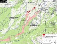 This large-scale map shows the distal part of Kīlauea's active East Rift Zone lava flow in relation to nearby Puna communities. The area of the flow on December 22 at 3:00 PM is shown in pink, while widening and advancement of the flow as mapped on December 30 at 2:30 PM is shown in red. Most surface activity was within the leading 3 km (2 miles) of the flow, but other small breakouts were scattered along the length of the flow up to the area just north of the True/Mid-Pacific geothermal well pad. One other breakout, outside the map area, was active near Puʻu ʻŌʻō. The blue lines show steepest-descent paths calculated from a 1983 digital elevation model (DEM; for calculation details, see http://pubs.usgs.gov/of/2007/1264/). Steepest-descent path analysis is based on the assumption that the DEM perfectly represents the earth's surface. DEMs, however, are not perfect, so the blue lines on this map can be used to infer only approximate flow paths. The yellow line marks the mapped extent of the active lava tube.