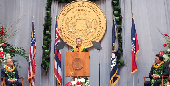 Gov. David Ige addresses lawmakers during his inauguration at the State Capitol. (Photo courtesy of The Governor's Office)