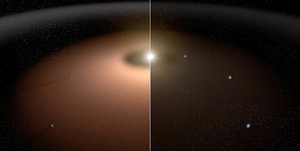 A dusty planetary system (left) is compared to another system with little dust in this artist's conception. Dust can make it difficult for telescopes to image planets because light from the dust can outshine that of the planets. Dust reflects visible light and shines with its own infrared, or thermal, glow. As the illustration shows, planets appear more readily in the planetary system shown at right with less dust. Research with the NASA-funded Keck Interferometer, a former NASA key science project that combined the power of the twin telescopes of the W. M. Keck Observatory atop Mauna Kea, Hawaii, shows that mature, sun-like stars appear to be, on average, not all that dusty. This is good news for future space missions wanting to take detailed pictures of planets like Earth and seek out possible signs of life. (Image courtesy of NASA | JPL-CALTECH)