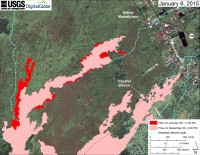 This large-scale map uses a satellite image acquired in March 2014 (provided by Digital Globe) as a base to show the area around the front of Kīlauea's active East Rift Zone lava flow. The area of the flow on December 30 at 2:30 PM is shown in pink, while widening and advancement of the flow as mapped on January 6 at 11:30 AM is shown in red. The most active parts of the flow were in an area 400 to 900 m (440 to 980 yards) behind the stalled tip of the flow above Pahoa Marketplace, and at the front of a flow lobe that branches off to the north about 3 km (2 miles) behind the stalled flow tip. Other active breakouts on the distal part of the flow were scattered between these two areas. The blue lines show steepest-descent paths calculated from a 1983 digital elevation model (DEM; for calculation details, see http://pubs.usgs.gov/of/2007/1264/). Steepest-descent path analysis is based on the assumption that the DEM perfectly represents the earth's surface. DEMs, however, are not perfect, so the blue lines on this map can be used to infer only approximate flow paths.