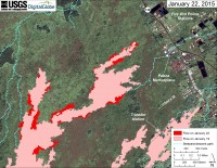 This large-scale map uses a satellite image acquired in March 2014 (provided by Digital Globe) as a base to show the area around the front of Kīlauea's active East Rift Zone lava flow. The area of the flow on January 19 is shown in pink, while widening and advancement of the flow as of January 22 is shown in red. The blue lines show steepest-descent paths calculated from a 1983 digital elevation model (DEM; for calculation details, see http://pubs.usgs.gov/of/2007/1264/). Steepest-descent path analysis is based on the assumption that the DEM perfectly represents the earth's surface. DEMs, however, are not perfect, so the blue lines on this map can be used to infer only approximate flow paths.