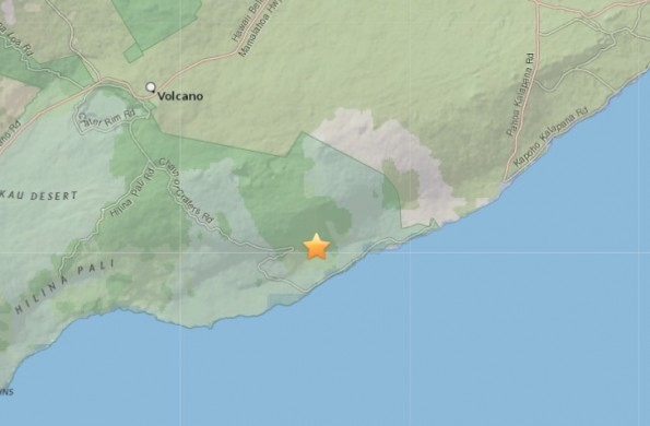Epicenter of 10:30 p.m. Friday, January 23, 2015 quake. Map courtesy of USGS.