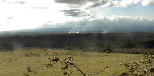USGS/HVO webcam view at 3:41 p.m. Wednesday (Jan 21) showing the smoke rising from the brushfires sparked by the Kilauea June 27th Lava Flow.