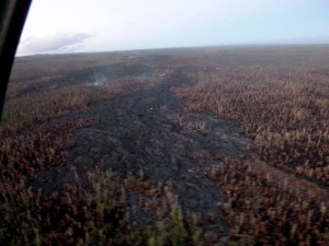 The Kilauea June 27th Lava Flow at 6:30 a.m., Monday (Feb 2) overflight by Hawaii County Civil Defense.