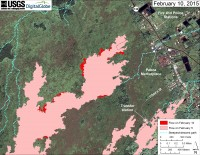 This large-scale map uses a satellite image acquired in March 2014 (provided by Digital Globe) as a base to show the area around the front of Kīlauea's active East Rift Zone lava flow. The area of the flow on February 5 is shown in pink, while widening and advancement of the flow as of February 10 is shown in red. The blue lines show steepest-descent paths calculated from a 1983 digital elevation model (DEM; for calculation details, see http://pubs.usgs.gov/of/2007/1264/). Steepest-descent path analysis is based on the assumption that the DEM perfectly represents the earth's surface. DEMs, however, are not perfect, so the blue lines on this map can be used to infer only approximate flow paths.