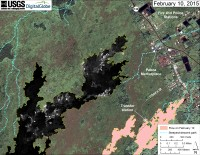 This map overlays a georegistered mosaic of thermal images collected during a helicopter overflight of the distal part of Kīlauea's active East Rift Zone lava flow on February 10 at about 12:30 PM. The base image is a satellite image acquired in March 2014 (provided by Digital Globe). The perimeter of the flow at that time is outlined in yellow. Temperature in the thermal image is displayed as gray-scale values, with the brightest pixels indicating the hottest areas (white shows active breakouts). The blue lines show steepest-descent paths calculated from a 1983 digital elevation model (DEM; for calculation details, see http://pubs.usgs.gov/of/2007/1264/). Steepest-descent path analysis is based on the assumption that the DEM perfectly represents the earth's surface. DEMs, however, are not perfect, so the blue lines on this map can be used to infer only approximate flow paths.
