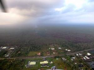 Image from Thursday (Feb 12) morning's overflight looking upslope from Pahoa Marketplace. Photo courtesy of Hawaii County Civil Defense