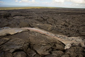 A small lobe of pāhoehoe on the new breakout on Puʻu ʻŌʻō. Photo taken Monday, February 23, 2015 courtesy of USGS/HVO