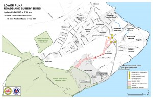 Kilauea June 27 Lava Flow map updated 7 a.m., February 24, 2015. Courtesy of Hawaii County Civil Defense