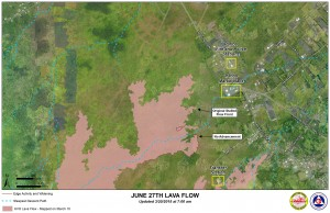 Kilauea June 27 Lava Flow map updated 7 a.m., March 20, 2015. Courtesy of Hawaii County Civil Defense
