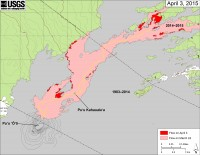 This map shows recent changes to Kīlauea's active East Rift Zone lava flow field. The area of the flow on March 24 is shown in pink, while widening and advancement of the flow as of April 3 is shown in red.