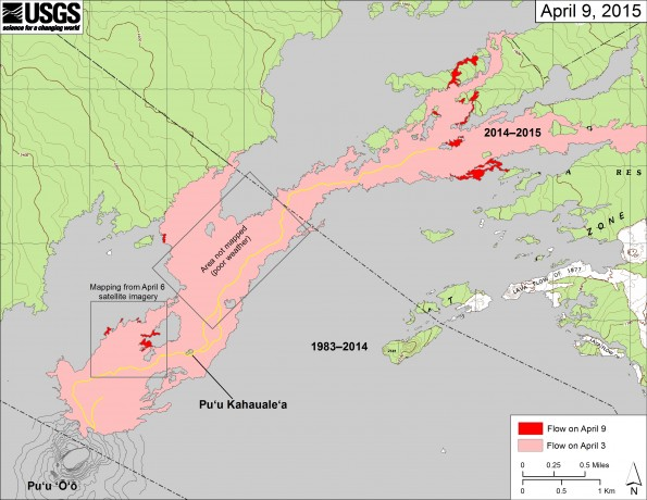 This map shows recent changes to Kīlauea's active East Rift Zone lava flow field. The area of the flow on April 3 is shown in pink, while widening and advancement of the flow as of April 9 is shown in red. We were not able to map some parts of the flow field with breakouts today due to poor weather, and these areas are denoted in boxes. Neither area has changed significantly since our previous mapping. See the map posted on April 1 to see the entire June 27th lava flow field and location of Pāhoa.