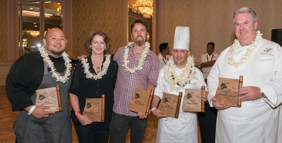 Professional winners of the BICF gala were from left: Hilton Waikoloa Village Chef Dayne Tanabe, Gini Choobua of Likao Kula Farm, Nat Bletter of Madre Chocolate, Fairmont Orchid Pastry Chef Daniel Sampson and Executive Fairmont Orchid Chef Hubert Des Marais. (Photo courtesy of Shortini Photography)