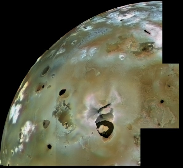 This Voyager 1 image mosaic shows a large area of Io's volcanic plains, with numerous volcanic calderas and lava flows. Loki Patera, an active lava lake 1,000 times large than Kīlauea Volcano's summit lava lake, is the black horseshoe-shaped feature in the lower part of the image.  Credit:  NASA/JPL/USGS