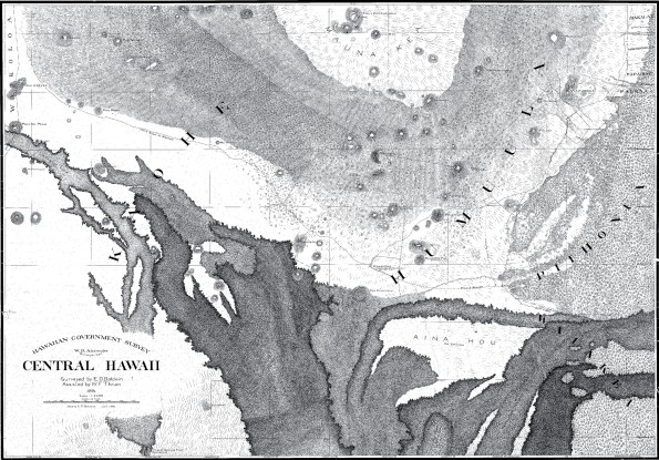 """This 1891 map shows much of the saddle between Mauna Kea (at top of map) and Mauna Loa. Lava flows depicted as black irregular shapes in the lower half of the map were erupted from Mauna Loa, with labeled ages ranging from """"ancient"""" to 1881. The Mauna Kea branch of the 1880–1881 lava flow, visible as a small, thumb-shaped flow at the bottom center of the map, sits atop the much larger 1855–1856 lava flow that also threatened Hilo.  To see details of this extraordinary map, go to http://ags.hawaii.gov/survey/map-search/, enter """"1718"""" in the """"Registered Map No."""" box, and click """"Search"""" to open the full resolution map.  Map courtesy of Hawaii State Archives."""