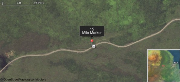 Daniel K. Inouye Highway, 15 Mile Marker.