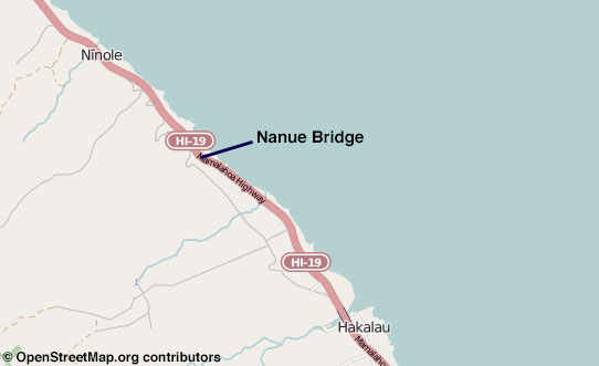 Nanue Bridge location on the Mamalahoa Highway (Hwy 19) on the Hamakua Coast.