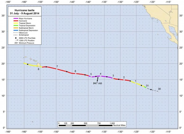 The National Hurricane Center Tropical Cyclone Report for Hurricane Iselle in 2014. The path for Hurricane Iselle which was a Tropical Storm when it made landfall on Hawaii Island.