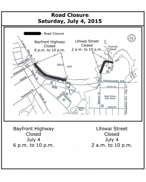 Hilo 4th of July road closure map