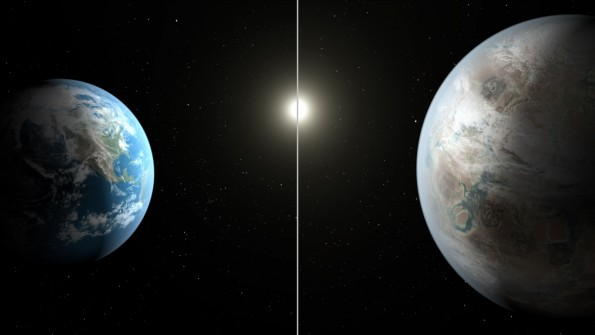 This artist's concept compares Earth (left) to the new planet, called Kepler-452b, which is about 60 percent larger in diameter. CREDIT: NASA/JPL-CALTECH/T. PYLE