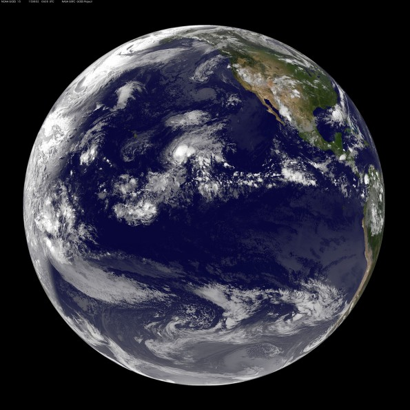 Full earth image taken at 8 p.m. HST Saturday, August 1, 2015. Photo courtesy of NOAA-NASA GOES Project