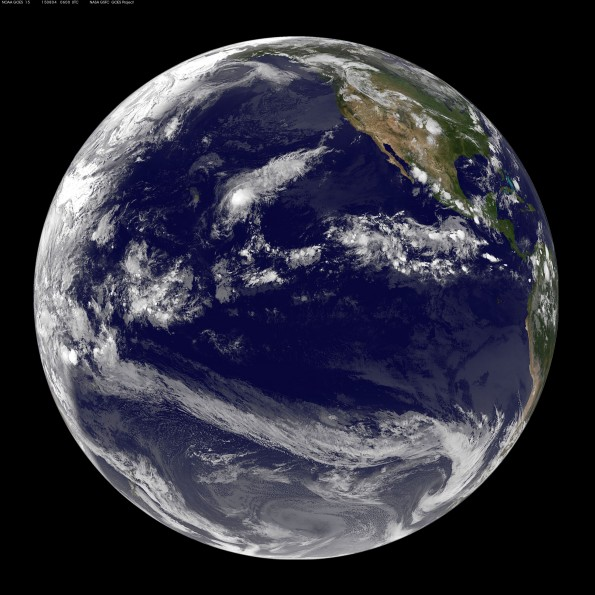 Full earth image taken at 8 p.m. HST Monday, August 3, 2015. Photo courtesy of NOAA-NASA GOES Project