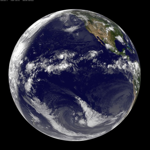 Full earth image taken at 8 p.m. HST Saturday, August 8, 2015. Photo courtesy of NOAA-NASA GOES Project