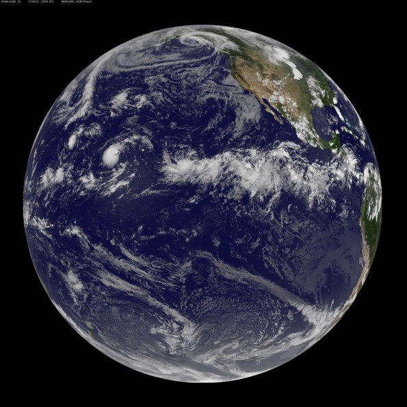 Full earth image taken at 2 p.m. HST Saturday, August 22, 2015. Photo courtesy of NOAA-NASA GOES Project