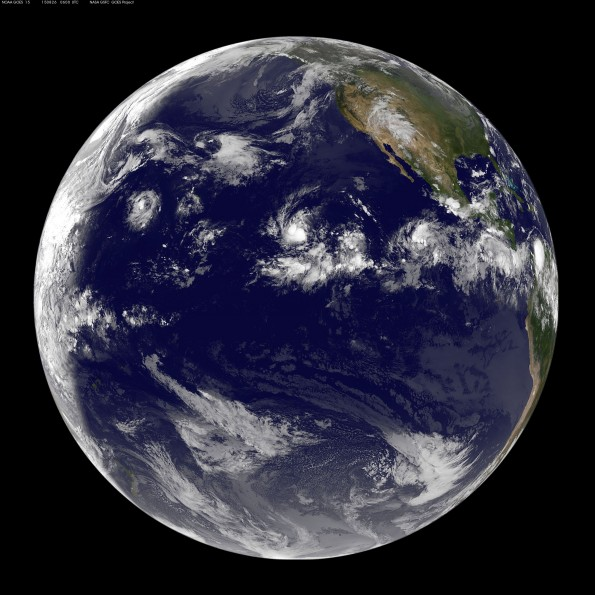 Full earth image taken at 8 p.m. HST Tuesday, August 25, 2015. Photo courtesy of NOAA-NASA GOES Project