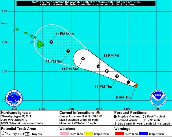 National Hurricane Center 11 p.m. HST Wednesday (Aug 26) track update.