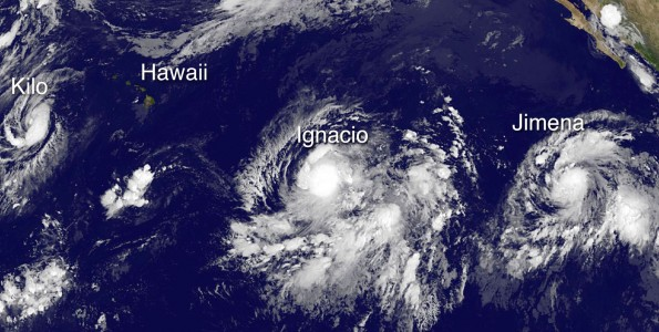 Tropical Storm Kilo, Hawaii, Hurricane Ignacio and Tropical Storm Jimena in this image taken at 11 p.m. HST Wednesday, August 26, 2015. Photo courtesy of NOAA-NASA GOES Project